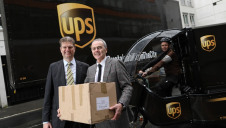 Mark Vale, UPS President, UK, Ireland and the Nordics, Andy Smith, Country Manager, UPS Ireland and Robbie Baker, Urban Eco Hub Team Leader